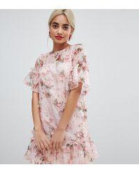 ASOS - Asos Design Petite Mini Shift Dress In Pretty 3d Floral - Lyst