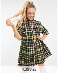 Collusion - Плиссированное Платье-рубашка Мини В Многоцветную Клетку Plus-многоцветный - Lyst