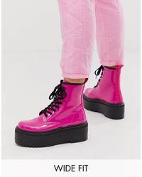 ASOS Розовые Лакированные Ботинки На Шнуровке И Толстой Подошве Для Широкой Стопы - Розовый