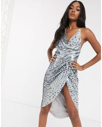 ASOS - Midi Dress With Drape Bodice - Lyst