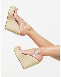 Truffle Collection Clear Strap Espadrille Wedges - Multicolour
