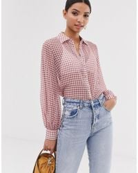 Fashion Union Seersucker Shirt With Balloon Sleeves In Gingham - Red