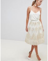 Chi Chi London | Midi Skirt In Premium Lace | Lyst