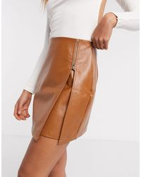 Naanaa Mini-jupe en similicuir à fermeture éclair - Fauve - Marron