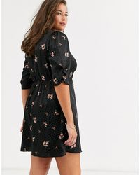 Simply Be Tea Dress With Button Detail - Black