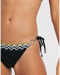 River Island Chevron Trim Ring Detail Bikini Bottom - Black