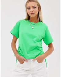 ASOS Boxy Cropped T-shirt With Ruched Side In Neon Green