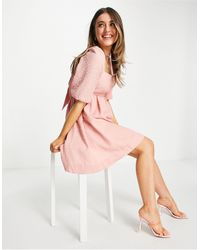 Forever New Baby Doll Bow Back Mini Dress With Puff Sleeve - Pink