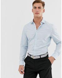 ASOS – Schmal geschnittenes Hemd mit Haifischkragen - Blau