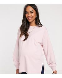 ASOS - Oversized Lichtgewicht Sweater Met Zijsplitten In Lila - Lyst