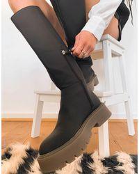 Bershka Bottes plates et hautes à enfiler en caoutchouc - Noir