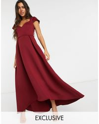 True Violet Cap Sleeve Sweetheart Prom Midaxi Dress - Red