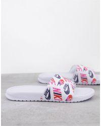Nike Белые Шлепанцы Benassi-белый