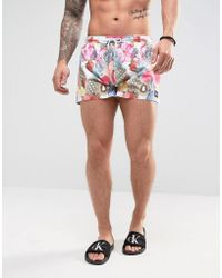 Jaded London - Swim Shorts In White With Tropical Fruit Print - Lyst