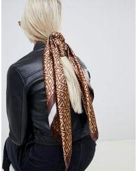ASOS - Large Square Polysatin Headscarf/neckscarf In Monogram - Lyst