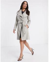 French Connection Кремовое Шерстяное Пальто -белый - Серый