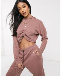 Public Desire Cropped Hoodie With Ruching And toggles Co-ord-brown - Purple
