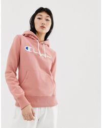 758d5895604b Champion - Boyfriend Hoodie With Front Script Embroidered Logo - Lyst