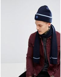 Pretty Green - Tipped Beanie & Scarf Gift Set With Gift Box In Navy/blue - Lyst