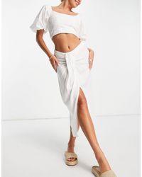 ASOS Midi Skirt With Drape Detail - White