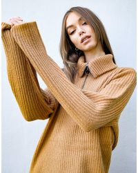 Object - Vestito maglia marrone con zip - Lyst