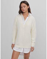Bershka Белый Пушистый Джемпер С V‐образным Вырезом - Многоцветный
