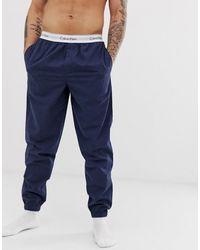 Calvin Klein Geweven Pyjamabroek Met Stretch - Blauw