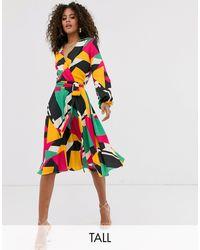 Flounce London - Платье Миди С Запахом И Принтом -мульти - Lyst