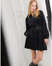 & Other Stories Belted Corduroy Mini Dress - Black