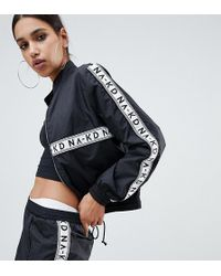 NA-KD Two-piece Logo Track Jacket In Black