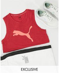 PUMA - Красная Майка С Розовым Логотипом Training Эксклюзивно Для Asos-розовый - Lyst