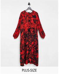 Closet London Plus Long Sleeve Split Midi Dress - Red