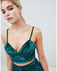 Fashionkilla - Cami Crop Top Co-ord In Emerald Velvet - Lyst