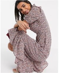 Y.A.S Midi Dress With High Neck - Multicolour