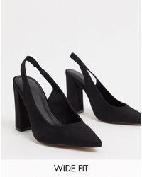 ASOS - Черные Туфли На Высоком Блочном Каблуке С Ремешком Через Пятку Для Широкой Стопы - Lyst