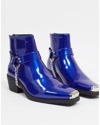 ASOS Cuban Heel Western Chelsea Boots - Pink