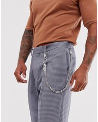 Bershka Trouser Chain In Silver With Reset Keyring - Metallic