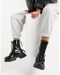 ASOS Alicia Sporty Sole Boots With Lace Detail - Black