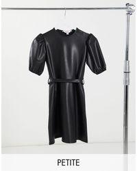 Miss Selfridge Robe courte imitation cuir à manches bouffantes - Noir