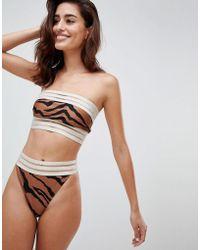 River Island - High Leg Animal Print Bikini Brief - Lyst