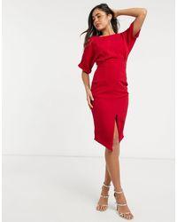 ASOS wiggle Midi Dress - Red