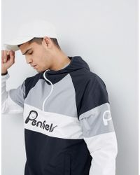 Penfield - Block Overhead Hooded Jacket Front Logo In Black/white/grey - Lyst