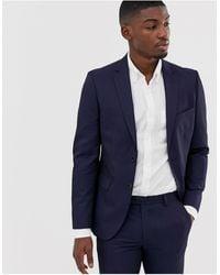 Moss Bros Moss London Skinny Suit Jacket - Blue