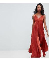 ASOS - Asos Design Tall Satin Midaxi Slip Dress With Lace Trim - Lyst