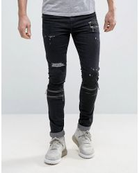 ASOS Super Skinny Jeans With Zips And Rips In Black