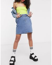 Noisy May – Jeans-Minirock mit Paperbag-Taille - Blau