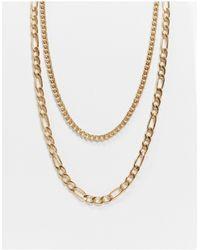 Bershka Layered Chain Necklace - Metallic