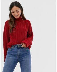 Glamorous Chunky Roll Neck Jumper - Pink