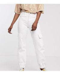 Collusion Cuffed Cargo Jeans With Pocket Detail - White