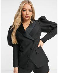 Lavish Alice Satin Mix Long Line Puff Sleeve Blazer - Black